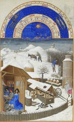 Monatsbild Stundenbuch des Herzogs von Berry Februar